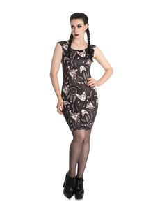 Spin Doctor Arcane Sphynx Cat Cross Pencil Alternative Short Dress