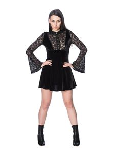 Banned Poison Velvet Mini Dress Alternative Black Lace