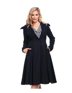 Collectif Bobbie 50s Style Navy Blue Swing Coat