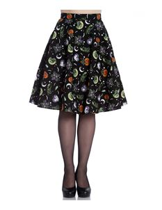 Hell Bunny Salem 50s Halloween Ghost Pumpkin Skirt