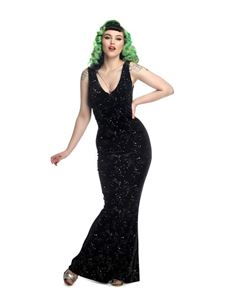 Collectif Lyra Black Silver Star Velvet Evening Dress