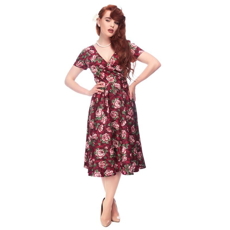 Collectif Maria Bloom Floral Burgundy Red 50s Style Swing Dress