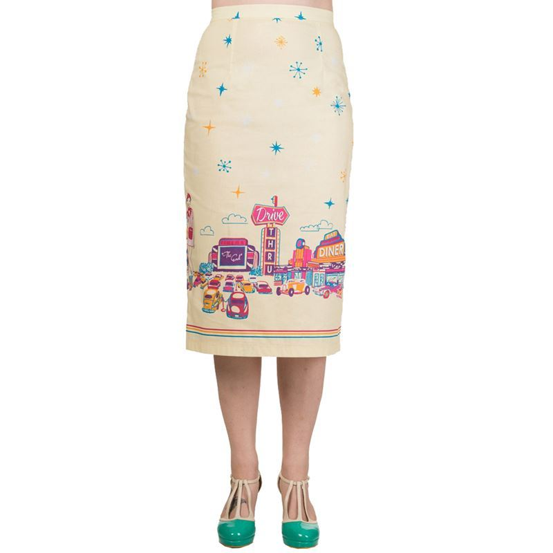 Hold Tight Dancing Days Yellow Drive Thru American Diner Pencil Skirt
