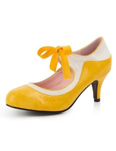 Collectif Jeanie 50s Yellow High Heeled Shoes