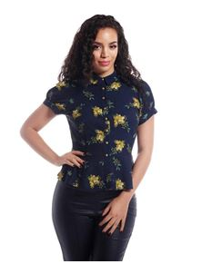 Collectif Mary Grace 40s WWII Blue Yellow Floral Blouse