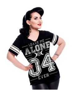 Heartless Leave Me Alone Varsity Black Tee T-Shirt