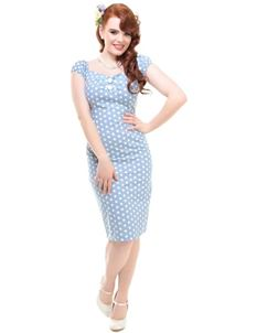 Collectif Dolores Vintage Blue Polka Dot Pencil Dress