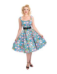 Hearts And Roses 50s Pretty Flamingo Swing Tea Dress