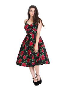 7adc3dc34e3b Hell Bunny Cannes 50s Vintage Style Rose Floral Dress