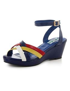 00223cfd05b Collectif 1950s 60s Style Nanda Navy Wedge Sandals
