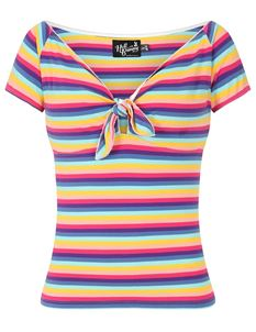 Hell Bunny Harmony Rainbow Striped Bardot 50s Top