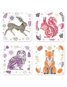 Magpie Wildwood Set of 4 Animal Coasters