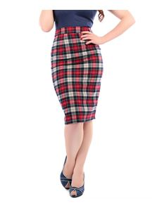 Collectif Polly Navy & Red Sherwood Tartan Pencil Skirt