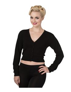 Banned Little Luxury 50s Style Black Cropped Cardigan
