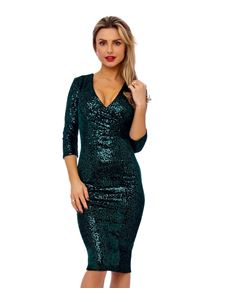 Bettie Vintage 50's Mori Sequin Pencil Green Dress