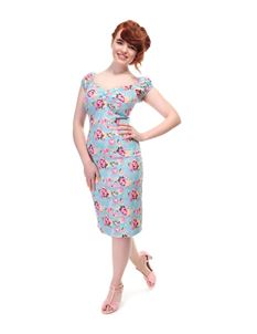 Collectif Peony Floral Dolores 50s Vintage Wiggle Dress