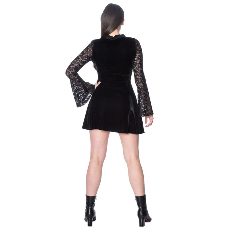 Banned Poison Lace Goth Alternative Black Mini Dress