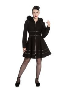 Hell Bunny Twilight Faux Fur Hooded Zip Short Coat Black