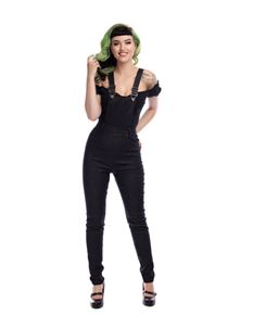 Collectif Becca 50s Plain Black Skinny Dungarees