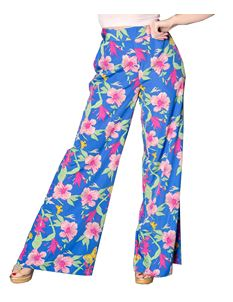 Sheen Blue & Pink Wide Legged Orchid Print Trousers