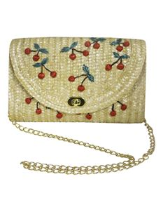 Collectif 50s Style Cherry Straw Shoulder Bag