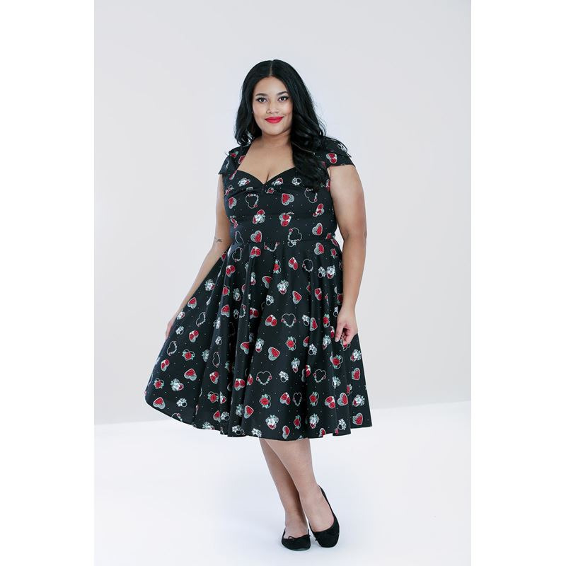 Hell Bunny Petals Floral Hearts Red Roses 50s Dress