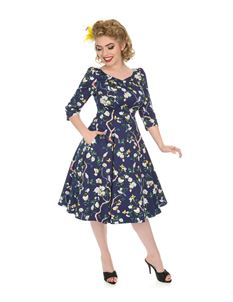H&R London Enchanted Garden Bird Floral 50s Style Dress