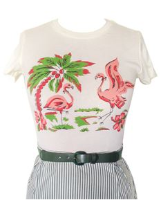 Mischief Made Flamingo Cream T Shirt