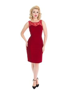 Hearts & Roses Red Velvet Romance 50s Wiggle Dress