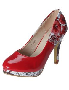 Poisoned Fairy Meadow Patent Floral Heel Platform Shoes Red