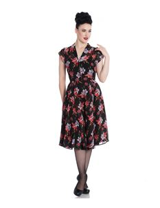 Hell Bunny Rayna Floral 40s Chiffon Tea Dress