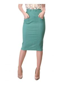 Collectif Pastel Green Cotton Pencil Skirt