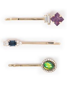 Powder Set Of 3 Sapphire Emerald Amethyst Hair Slides
