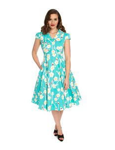 f96e96a54e28 Hearts   Roses Nancy Floral Daisy Swing Blue 50s Dress