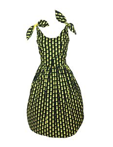 Silly Old Sea Dog 1950s Black Pineapple Dress