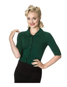 Dancing Days 50s April Bow Green Short Sleeve Cardigan