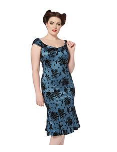 Voodoo Vixen 50's Bird & Floral Flock Taffeta Wiggle Fishtail Dress