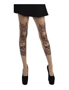 Pamela Mann Goth Tattoo Tights Hear Speak See No Evil