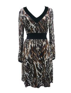 Ladies Animal Print Tunic Dress Brown & Cream