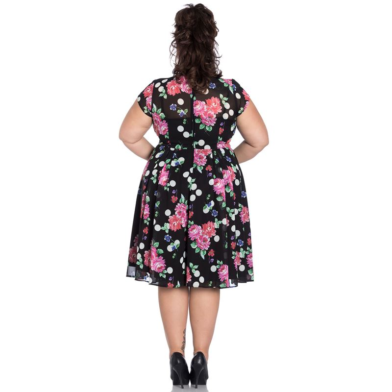Hell Bunny Bloomsbury Polka Floral 40s Chiffon Dress