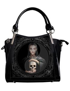 Anne Stokes 3D Beyond The Veil Skull PVC Black Handbag