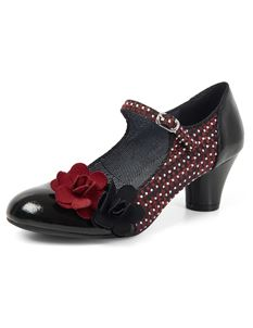 Ruby Shoo Freya Patent Black Mary Janes Shoes Mid Heels