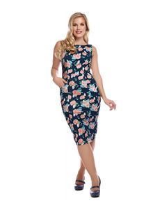Collectif Hepburn Pretty Floral Navy Pencil Dress