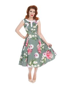 Hearts & Roses 50's Mix Floral Hepburn Dress In Grey