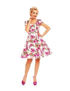 Dolly & Dotty Claudia Orchid Print White And Pink Dress