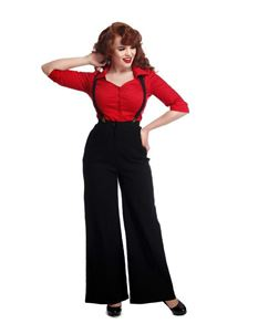 Collectif 40s Style Glinda Black Wide Swing Trousers