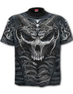 Spiral Direct Mens Skull Armour Black Allover T Shirt