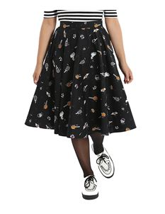 Hell Bunny Trick or Treat 50s Ghost Halloween Skirt