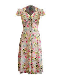Pretty Retro 40s Style Pink Floral Tea Dress