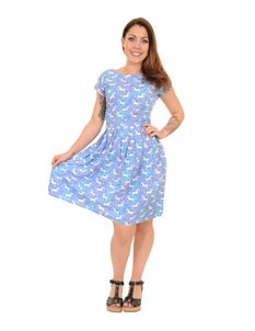 Run & Fly Unicorn Belted Blue Tea Party Dress